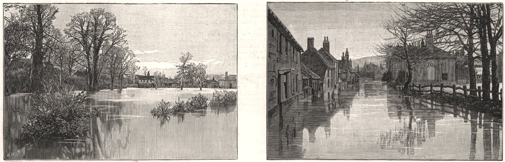 Associate Product The winter snows and floods: Floods at Bramber, Sussex, antique print, 1887