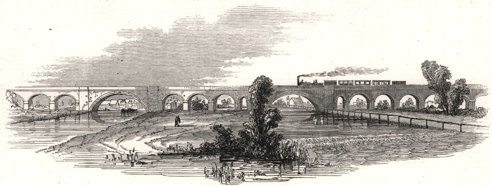 Associate Product London and Richmond Railway. The Wandle Viaduct, antique print, 1846