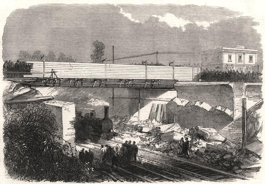 Associate Product Scene of the late accident near Croydon. London, antique print, 1865