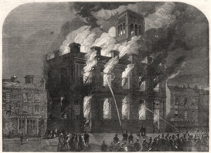 Associate Product The burning of the Surrey Theatre at Sheffield. Yorkshire, antique print, 1865