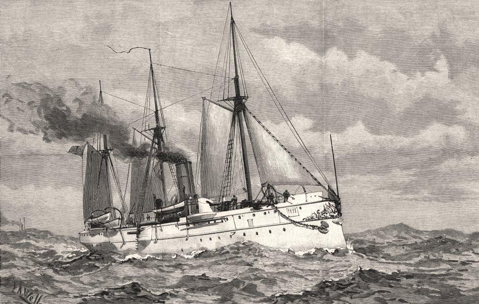 Associate Product The American Navy: U. S. S. York Town, torpedo cruiser. USA, antique print, 1890