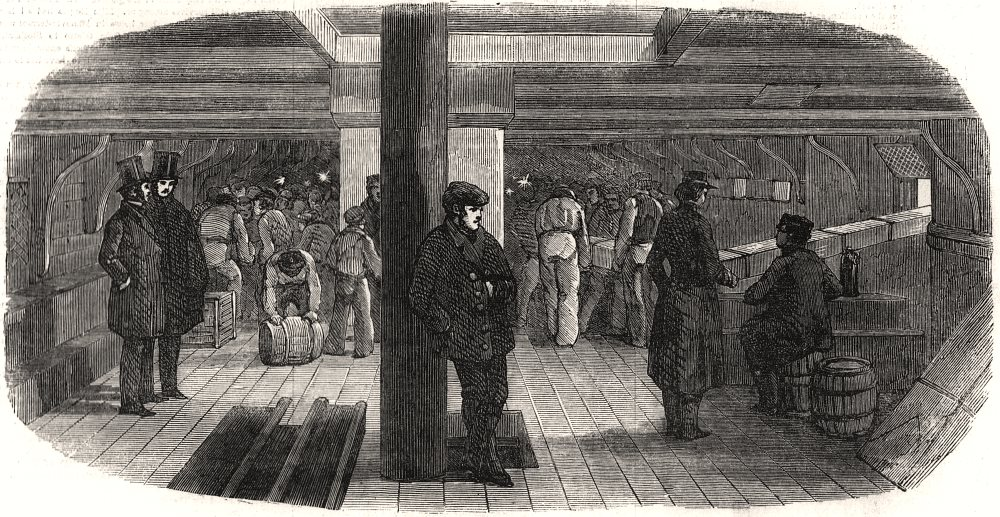 """Associate Product American vessel """" White Falcon """" receiving wooden barracks for the Crimea, 1855"""