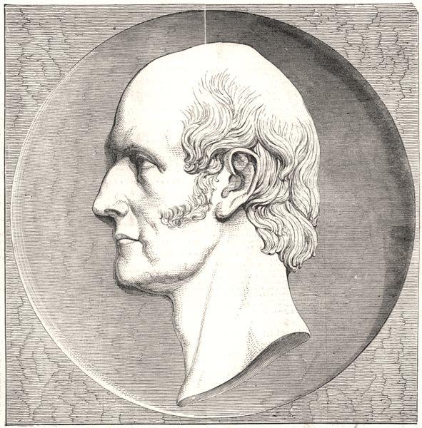 Associate Product Medallion portrait of the late Robert Vernon, Esq. UK, antique print, 1849