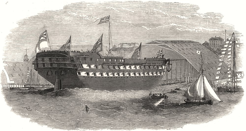 """Associate Product Launch of the """" Crecy """" screw steam-ship at the Royal Dockyard, Chatham, 1853"""