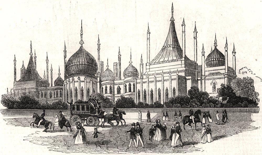 Associate Product The pavilion at Brighton. Sussex, antique print, 1843