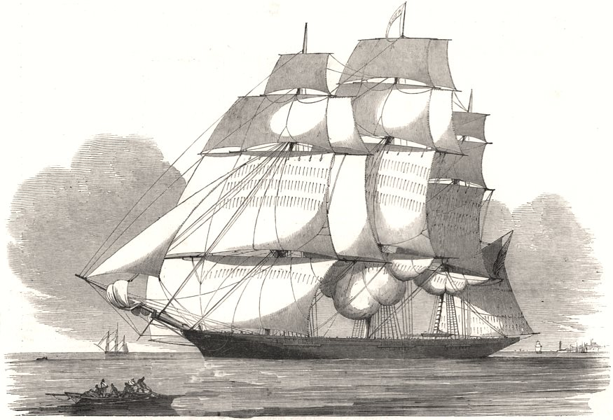 """Associate Product The American clipper ship, """" Witch of the Wave """". USA, antique print, 1852"""