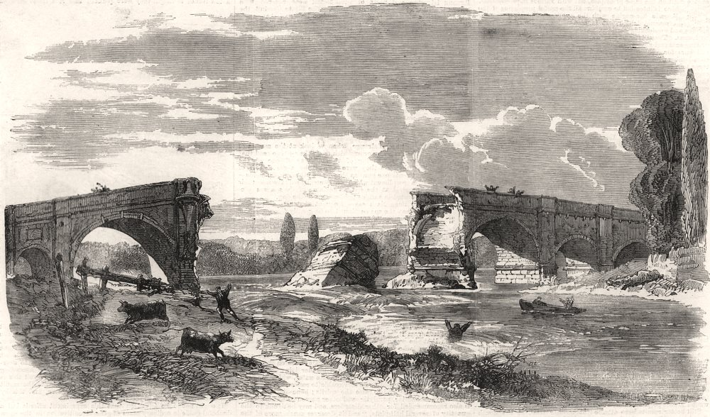 Associate Product Fall of Walton-Bridge on the 11th Iast. London, antique print, 1859