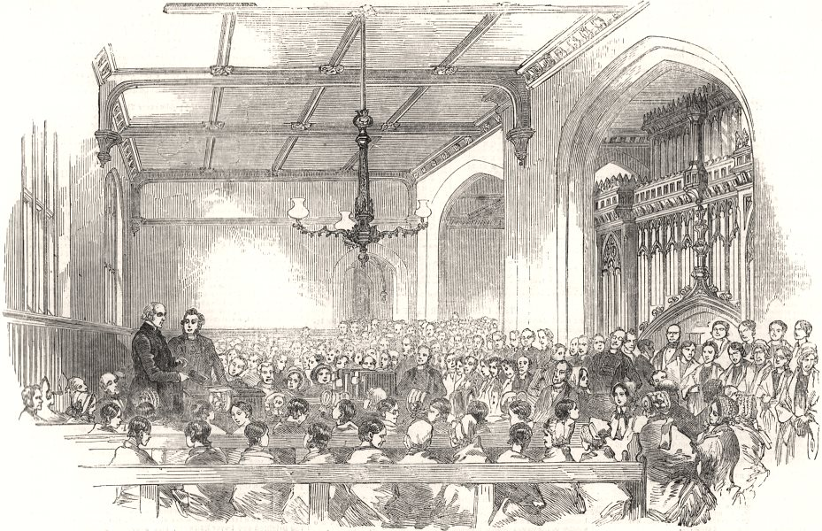 Associate Product School for the Indigent Blind. Examination of the pupils. London, print, 1851