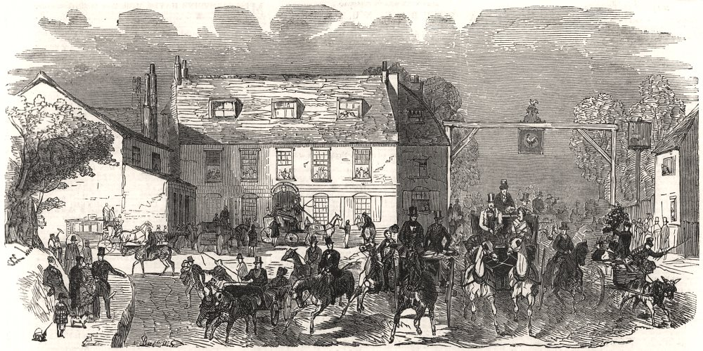 Associate Product Sketch of the road. The Cock Inn, Sutton. London, antique print, 1851