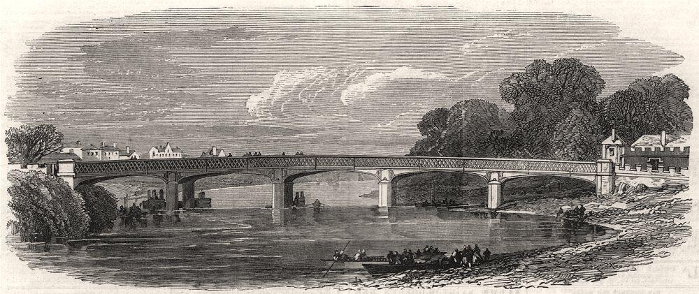 Associate Product New bridge at Hampton Court. London, antique print, 1866