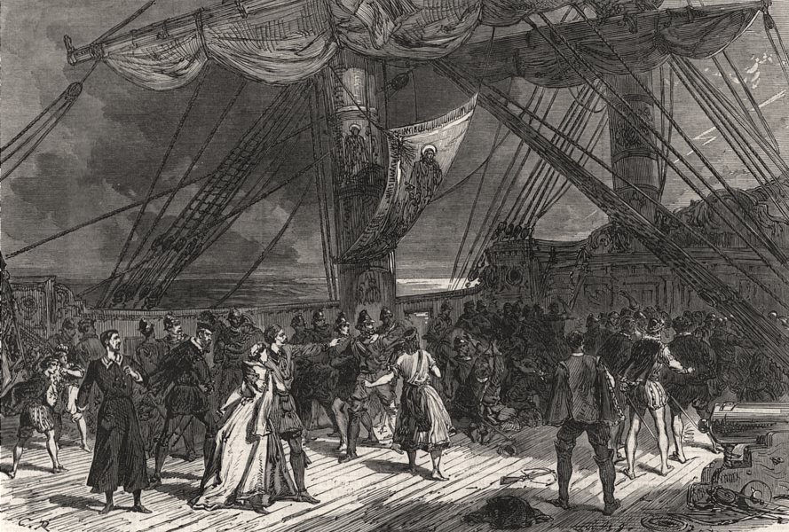"""Associate Product Scene from """" True to the Core """" at the Surrey Theatre. London, old print, 1866"""