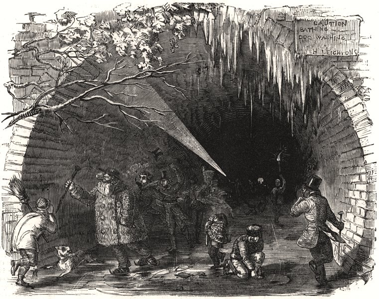 Associate Product Skating in the Regent's Canal Tunnel. Regent's Park. London, antique print, 1855