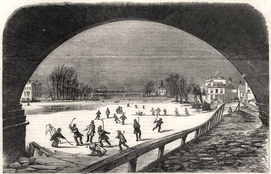 Associate Product Playing ice hockey on the frozen Thames at Richmond. London, antique print, 1855