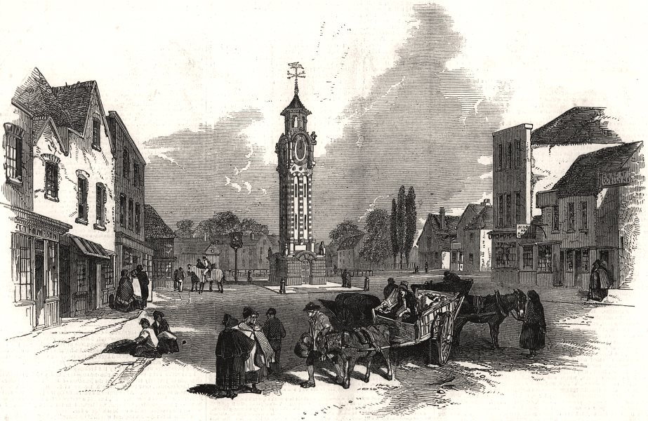 Associate Product The new clock tower, at Epsom. Surrey, antique print, 1847