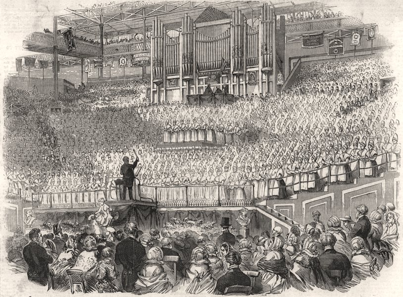 Metropolitan Charity School children meeting at the Crystal Palace. London, 1858