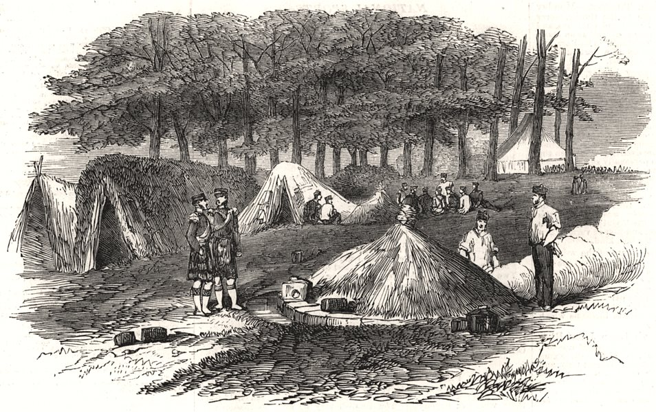 Associate Product The camp at Chobham: Huts and kitchen. 42nd Highlanders. Surrey, old print, 1853