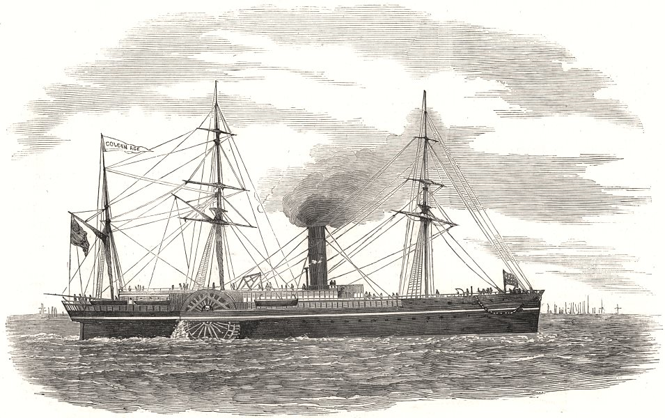 """Associate Product """" The Golden Age """" American steam-ship. USA, antique print, 1853"""