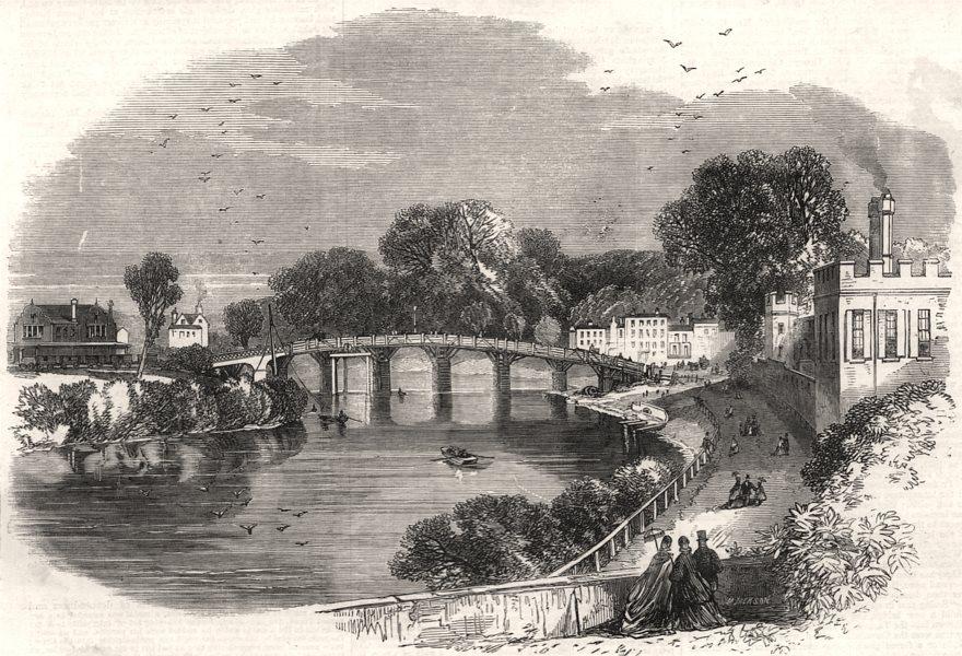 Associate Product Hampton Court old Bridge. London, antique print, 1864