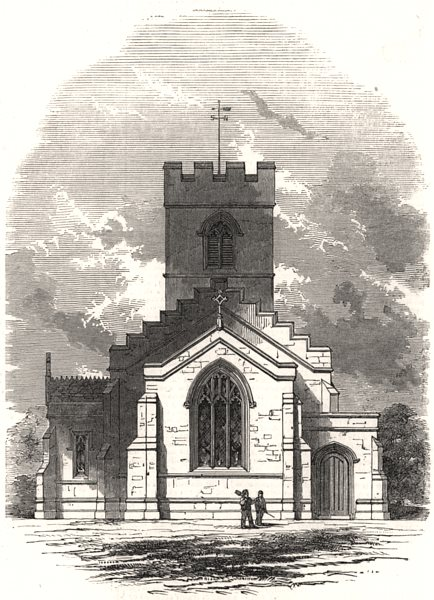 Associate Product New church at Cranoe. Leicestershire, antique print, 1847