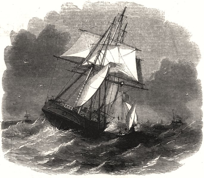 Associate Product Hoisting pilot on board in heavy weather. The Liverpool pilot boats, print, 1857