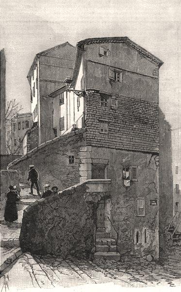 Associate Product House built against the rock, Grasse. Alpes-Maritimes, antique print, 1891