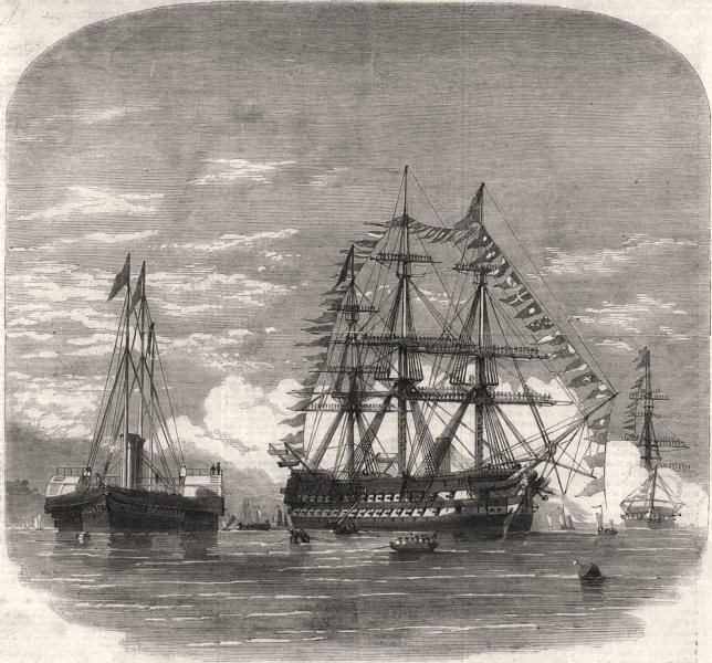 Associate Product The Prince of Wales embarking HMS Hero at Plymouth for Canada. Devon, 1860