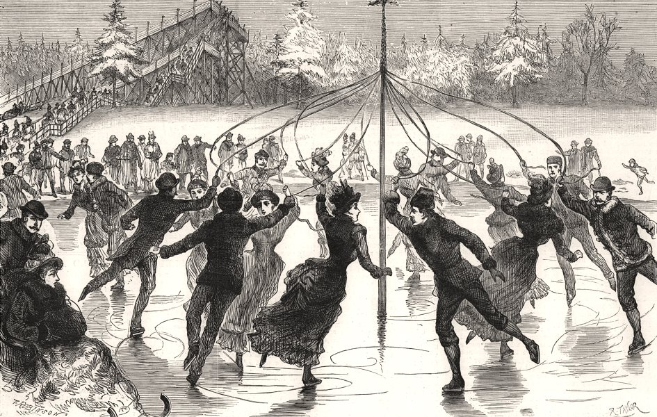 Associate Product Government House, Ottawa, Canada: the Maypole in winter. Ice skating, 1888