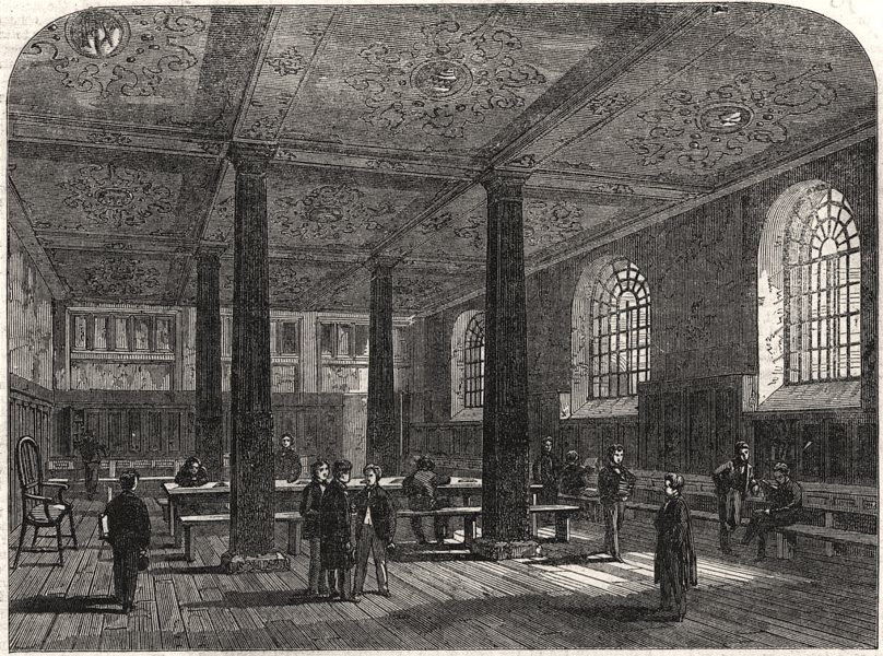 Associate Product The study of room in Charterhouse School. London, antique print, 1862