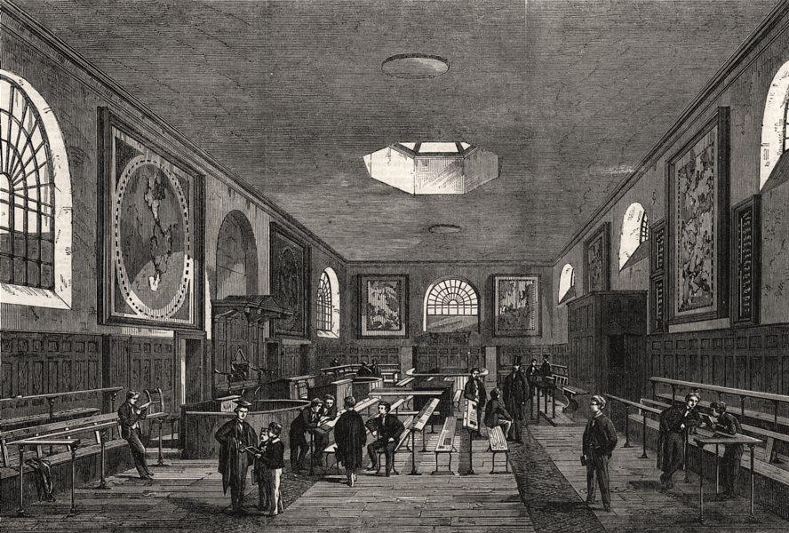 Associate Product Charterhouse school room. London, antique print, 1862