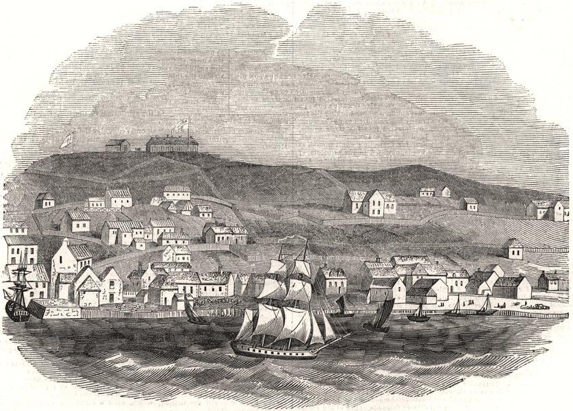 Associate Product St. John's, Newfoundland. Canada, antique print, 1844
