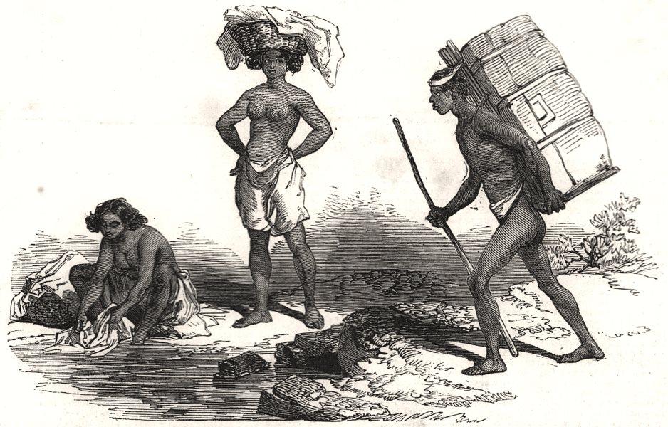 Associate Product Native women. native porter. Africa, antique print, 1851