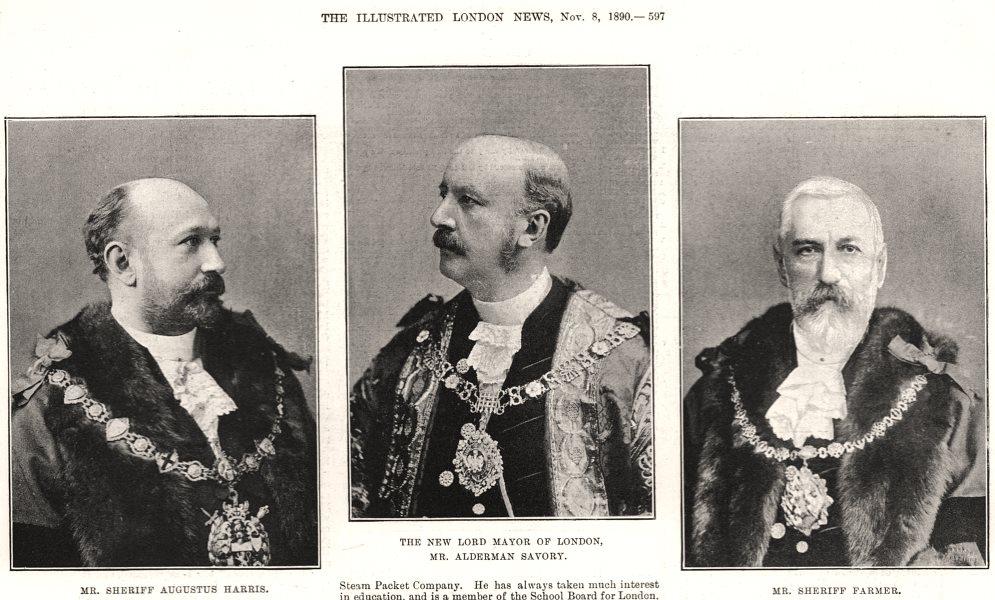 Associate Product Augustus Harris Lord Mayor of London Alderman Savory Sheriff Farmer, print, 1890