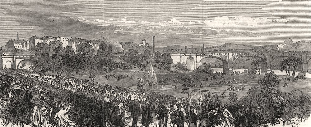 Associate Product Opening of the Miller Park, Preston. Lancashire, antique print, 1867