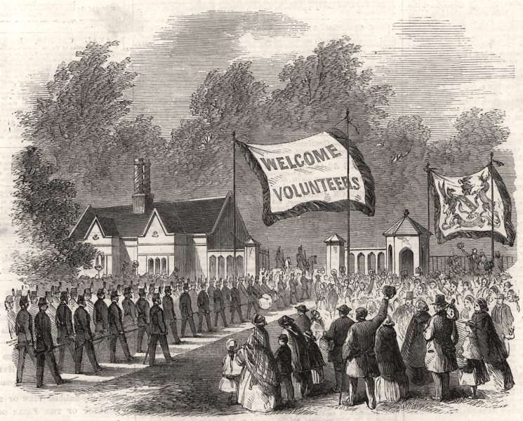 Associate Product Huyton Lodge Volunteers entering Knowsley Park, Lancashire, antique print, 1860