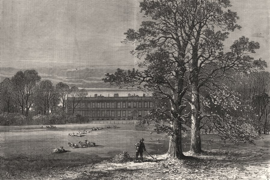 Associate Product Knowsley House. Lancashire, antique print, 1869