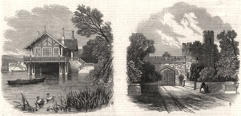 Associate Product The Earl Of Derby: The boat-house & police lodge, Knowsley. Lancashire, 1863
