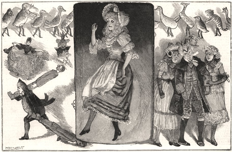 """Associate Product Christmas pantomime of """" Cinderella """" at Her Majesty's Theatre, old print, 1890"""