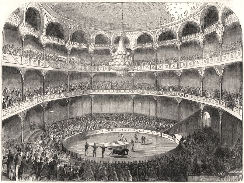 Associate Product The American Circus, Alhambra Palace. London, antique print, 1858