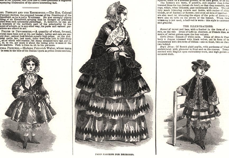 Associate Product Paris fashions for December, antique print, 1853