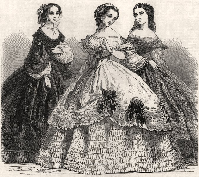 Associate Product Paris fashions for February, antique print, 1861