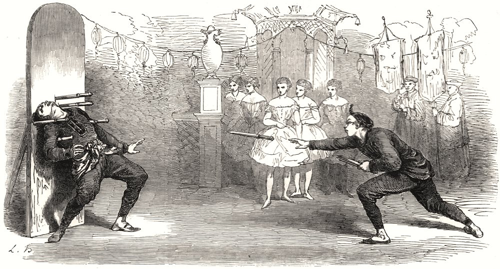 """Associate Product The Chinese """" Impalement """" Feat, at Drury-Lane Theatre. London, old print, 1854"""