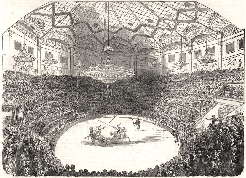 Associate Product Inauguration of the new Winter Circus, at Paris, antique print, 1852