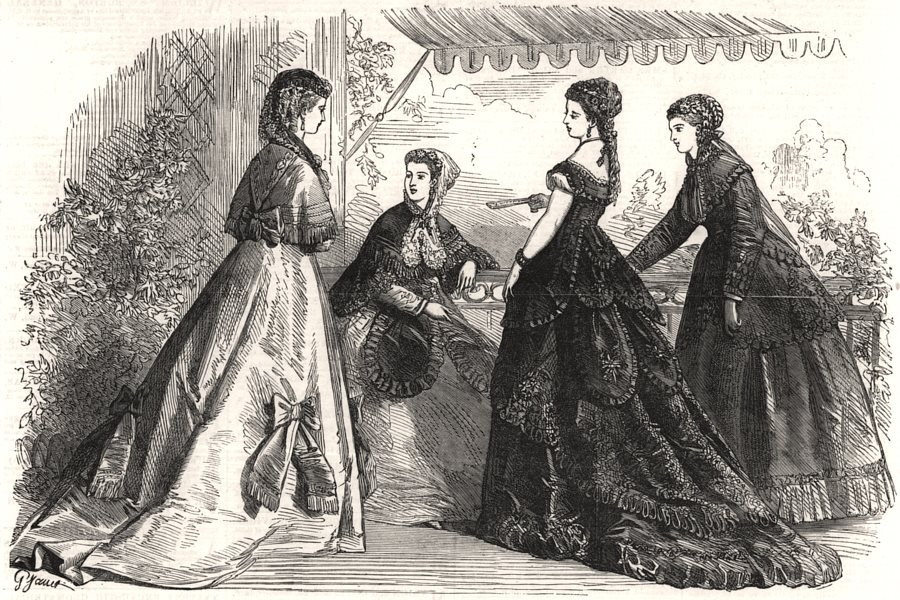 Associate Product Paris fashions for May, antique print, 1868