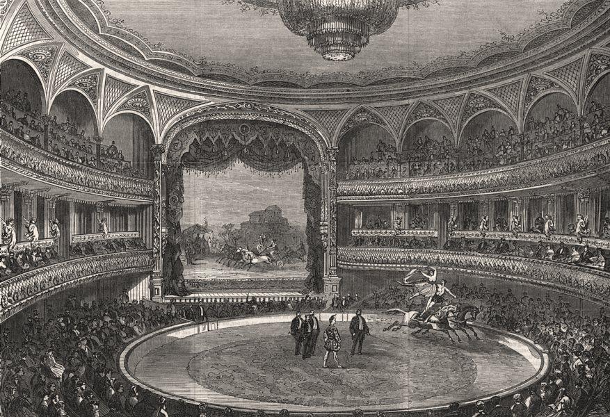 The new amphitheatre, Holborn. London, antique print, 1867