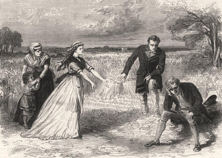 "Scene from "" Dora "", at the Adelphi Theatre. London, antique print, 1867"