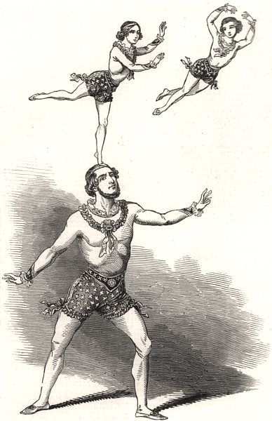 Associate Product Professor Risley and his sons, at Drury Lane Theatre. London, old print, 1846