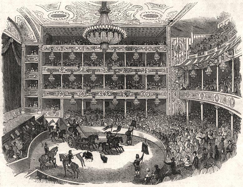 "Associate Product Interior of "" Astley's Amphitheatre "". London, antique print, 1843"