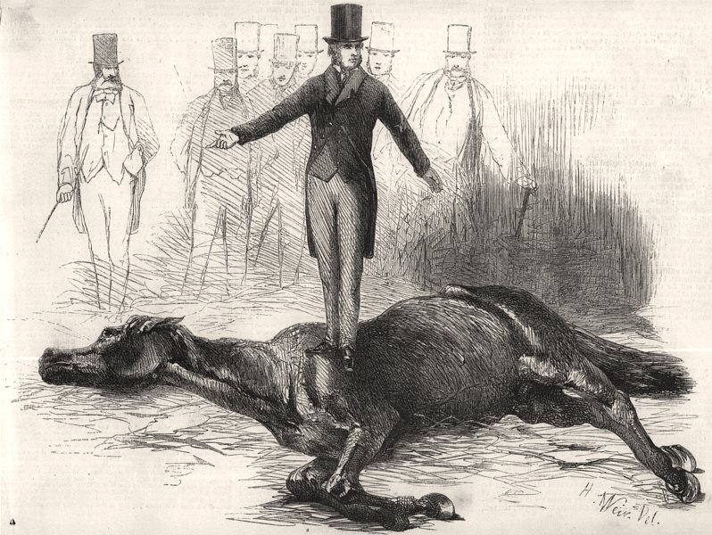 Associate Product Mr. Rarey, the horse-tamer, operating upon cruiser. Horses, antique print, 1858