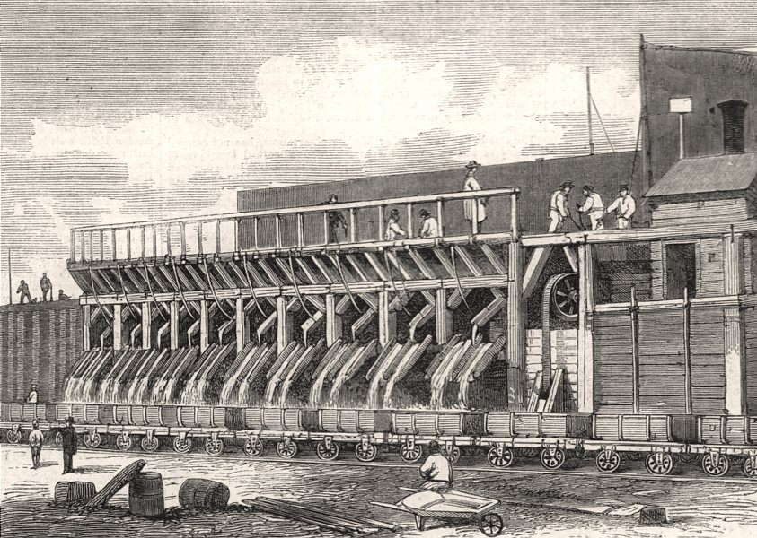 Associate Product London main drainage: The concrete mills at Plaistow, antique print, 1861
