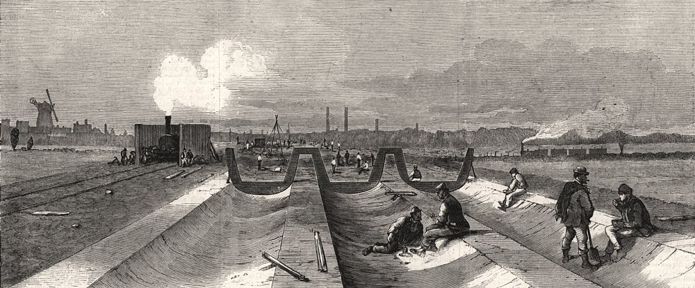 Associate Product London main drainage: Concrete foundation for the northern outfall tunnels, 1861
